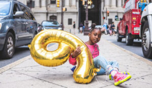 Little girl celebrating one of many post-divorce special occasions.