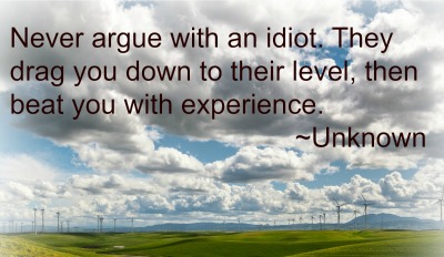 Never argue with an idiot. They drag you down to their level, then beat you with experience.