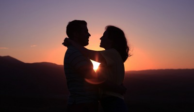 Couple realizing the benefits of the work they put into saving an unhappy marriage.