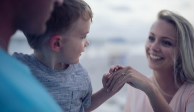 Newly engaged woman, who's ready to learn the keys to co-parenting, meeting her future step-son.